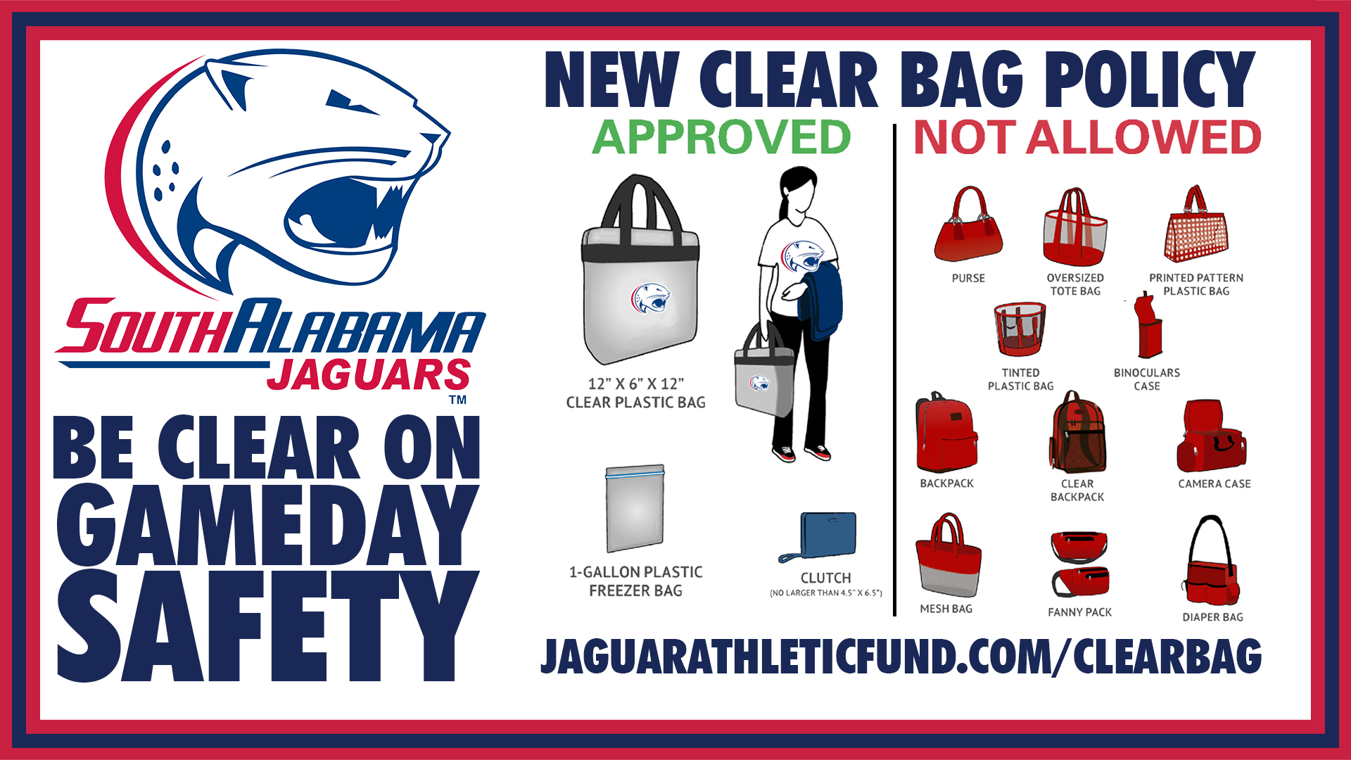 South alabama implements clear bag policy at ladd peebles stadium south alabama implements clear bag policy at ladd peebles stadium sciox Gallery